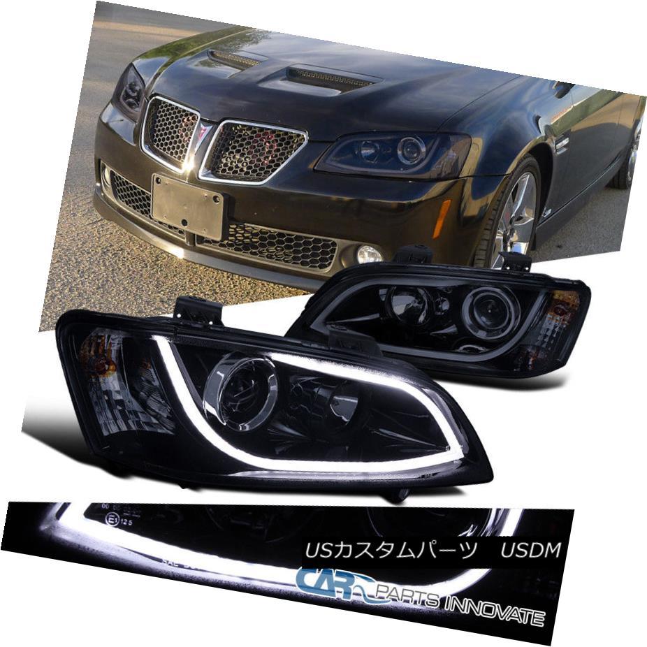 ヘッドライト Glossy Black 08-09 Pontiac G8 LED DRL Strip Bar Projector Headlights Head Lamps 光沢のある黒08-09ポンティアックG8 LED DRLストリップバープロジェクターヘッドライトヘッドランプ