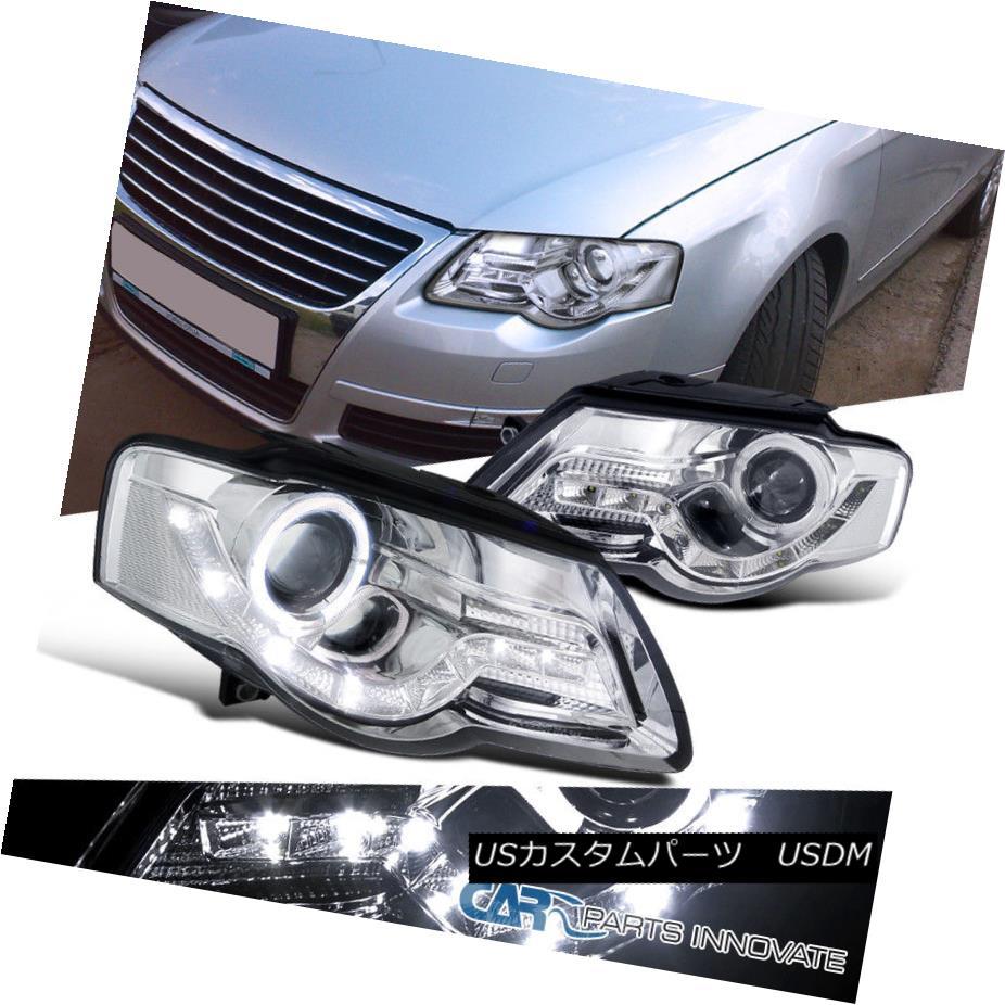 ヘッドライト LED Daytime Chrome Halo Projector Headlights B6 Head Lamps For 06-10 VW Passat LEDデイタイムクロームハロープロジェクターヘッドライトB6ヘッドランプ(06-10 VWパサート用)