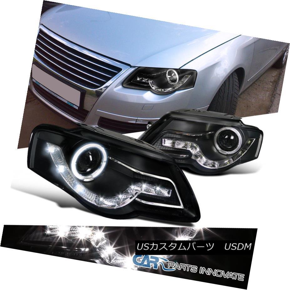 ヘッドライト For 06-10 Passat B6 Halo LED Strip Projector Black Headlights Head Lamps Pair 06-10 Passat B6用Halo LEDストリッププロジェクターブラックヘッドライトヘッドランプペア