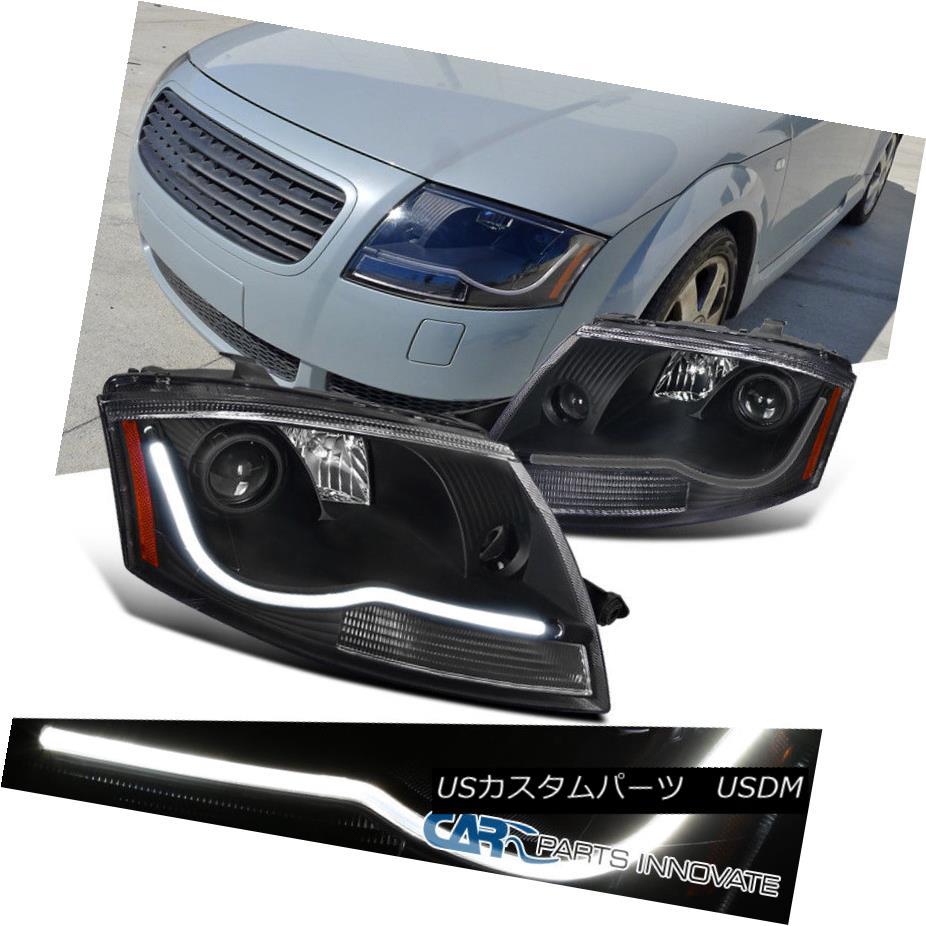 ヘッドライト Fit 99-06 Audi TT Black LED DRL Strip Daytime Running Lamps Projector Headlights フィット99-06アウディTTブラックLED DRLストリップデイタイムランニングランププロジェクターヘッドライト