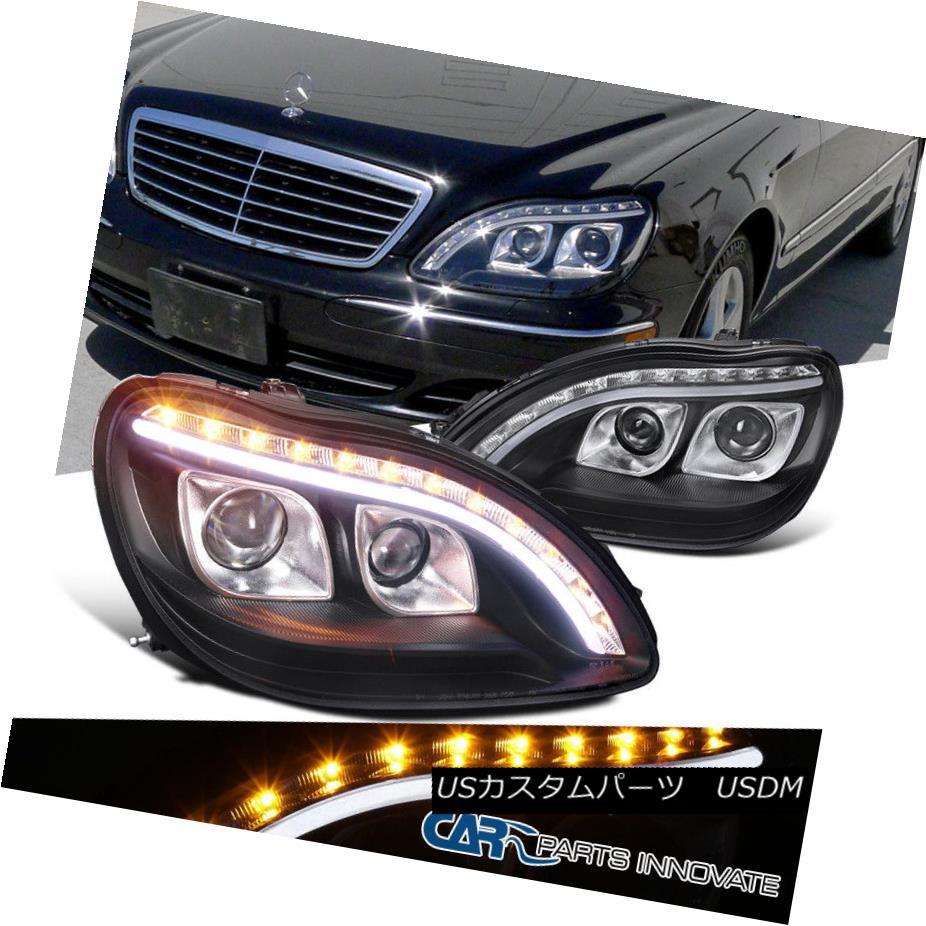 ヘッドライト 98-06 Benz W220 S320 S420 Black Dual Projector Headlights+LED Signal DRL Strip 98-06ベンツW220 S320 S420ブラックデュアルプロジェクターヘッドライト+ LED信号DRLストリップ