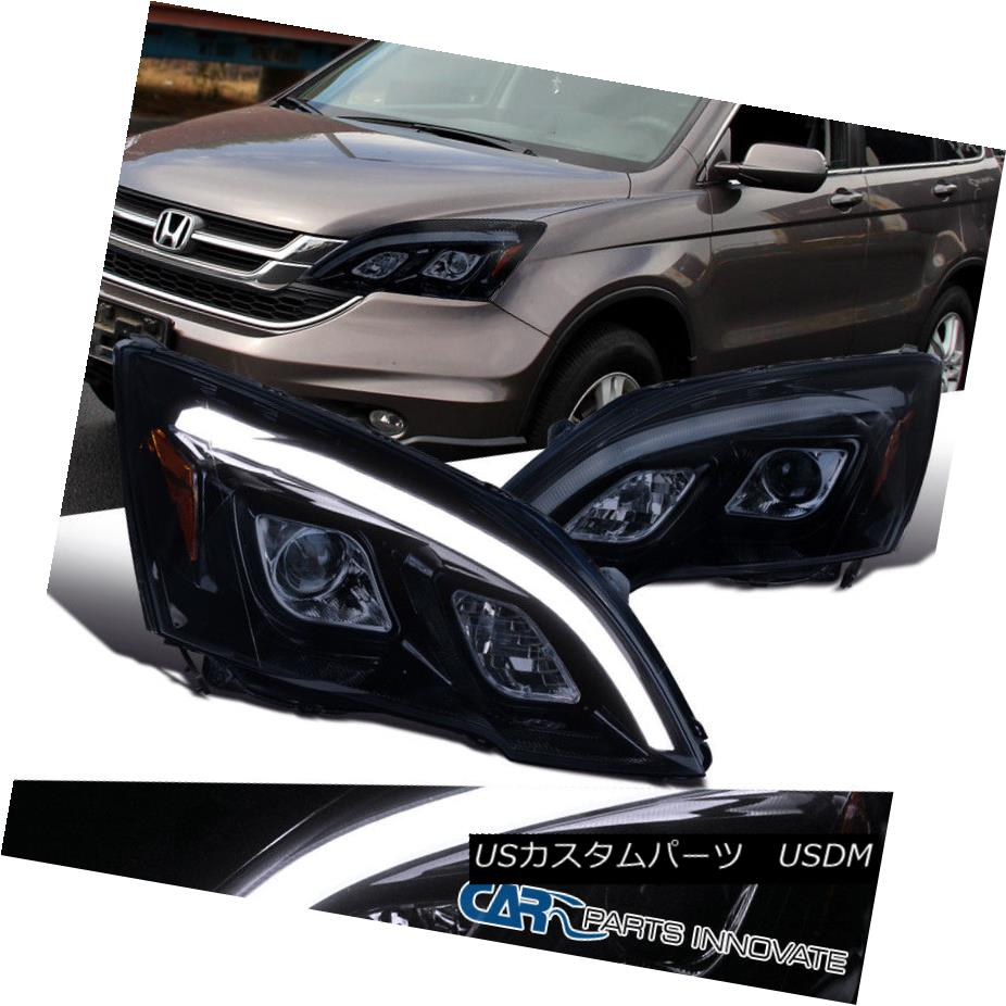 ヘッドライト For 07-11 Honda CR-V CRV Glossy Black Projector Headlights LED DRL Headlamps 07-11ホンダCR-V CRV光沢ブラックプロジェクターヘッドライトLED DRLヘッドランプ