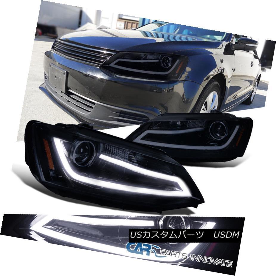 ヘッドライト Glossy Black Fit 11-14 Jetta LED DRL Projector Headlights Head Lamps Left+Right 光沢のあるブラックフィット11-14 Jetta LED DRLプロジェクターヘッドライトヘッドランプ左+右