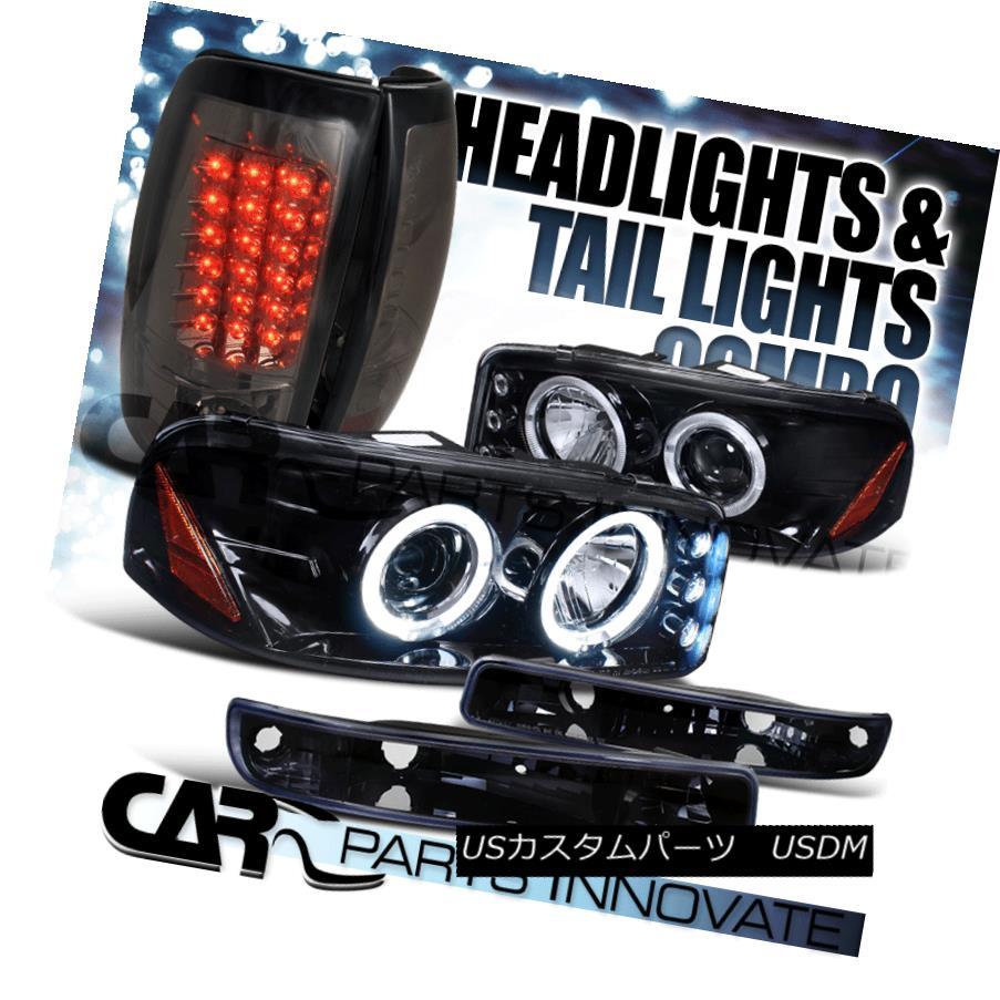 ヘッドライト 99-03 Sierra Fleetside Glossy Black Projector Head Bumper Light+Smoke Tail Lamp 99-03シエラフリートサイドグロッシーブラックプロジェクターヘッドバンパーライト+煙テールランプ