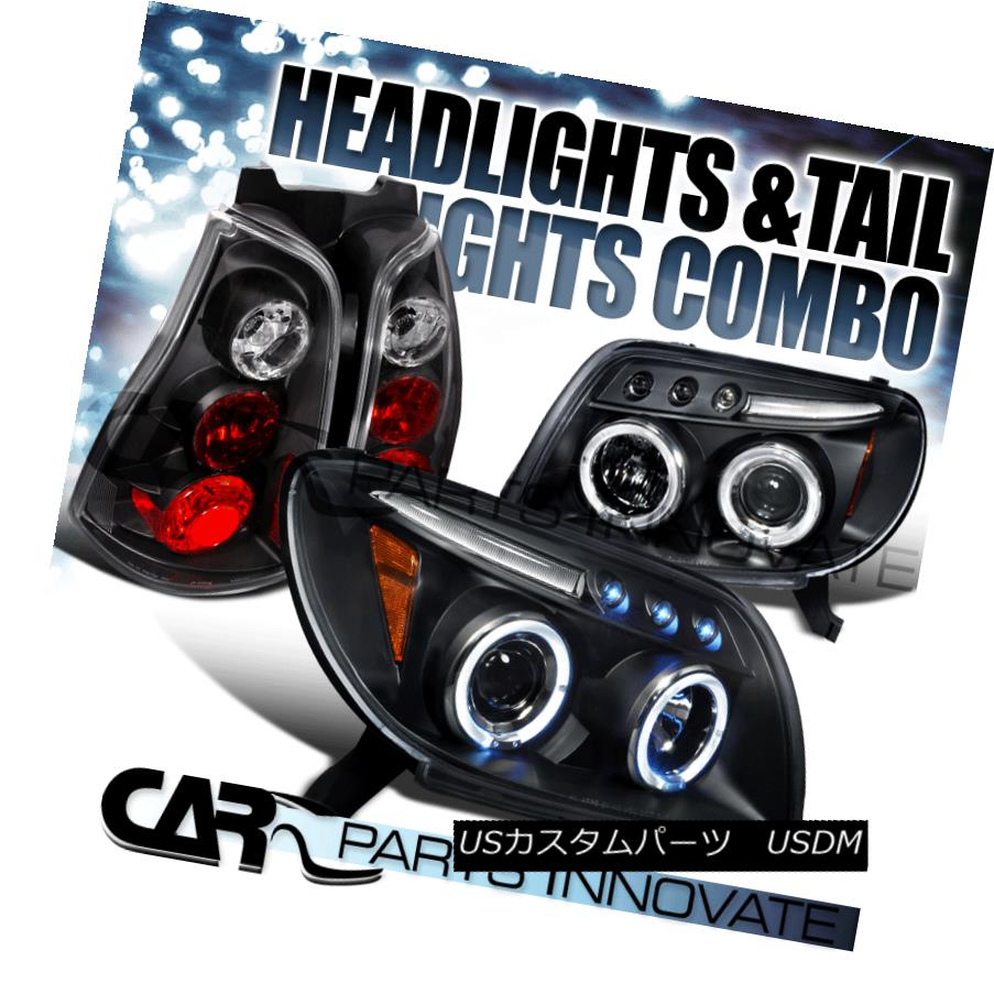 ヘッドライト Black 03-05 Fit 4Runner Replacement Halo Projector LED Headlights+ Tail Lamps ブラック03-05フィット4Runner代替ヘイロープロジェクターLEDヘッドライト&テールランプ