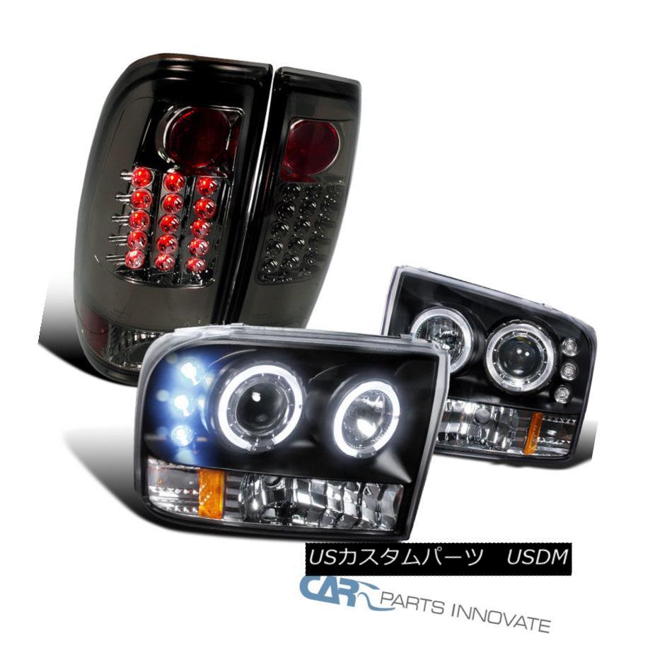 ヘッドライト 99-04 F250~F550 SuperDuty Black Halo Projector Headlights+LED Smoke Tail Lamps 99-04 F250?F550 SuperDuty Black Haloプロジェクターヘッドライト+ LED煙テールランプ