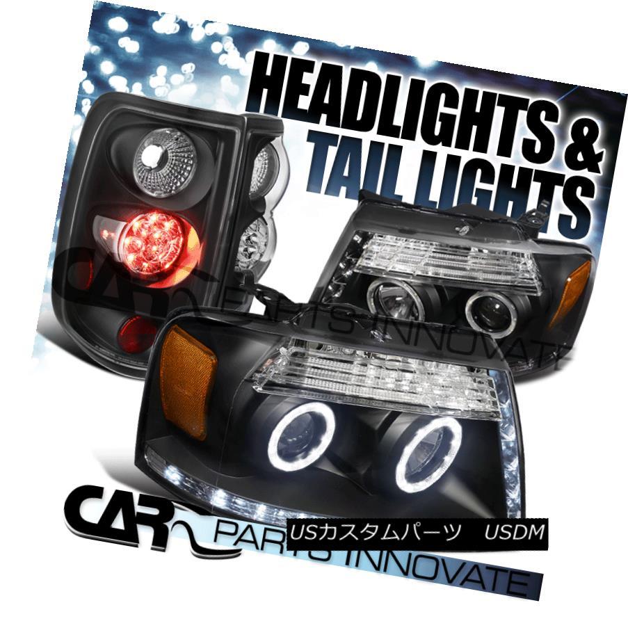 ヘッドライト 04-08 Ford F150 Black Dual Halo LED Strip Projector Headlight+LED Tail Lights 04-08フォードF150ブラックデュアルハローLEDストリッププロジェクターヘッドライト+ LEDテールライト