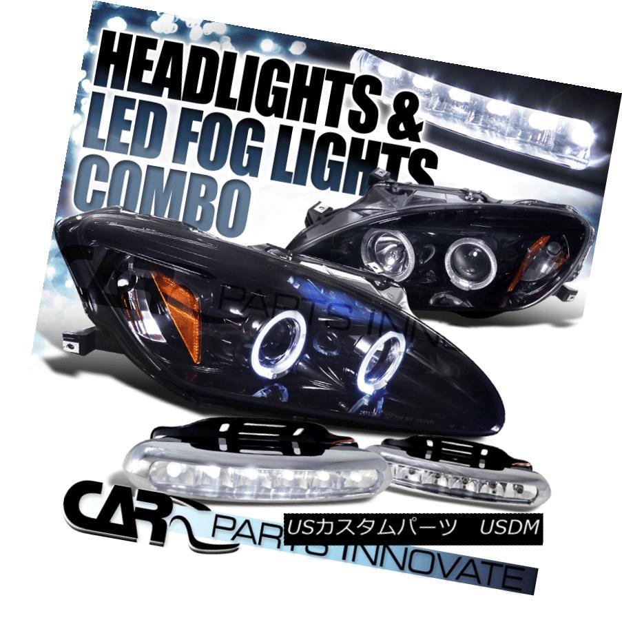 ヘッドライト Glossy Black Fit 00-03 Honda S2000 Halo Projector Headlight+6-LED Fog Lamps 光沢ブラックフィット00-03ホンダS2000ハロープロジェクターヘッドライト+ 6-LE  Dフォグランプ