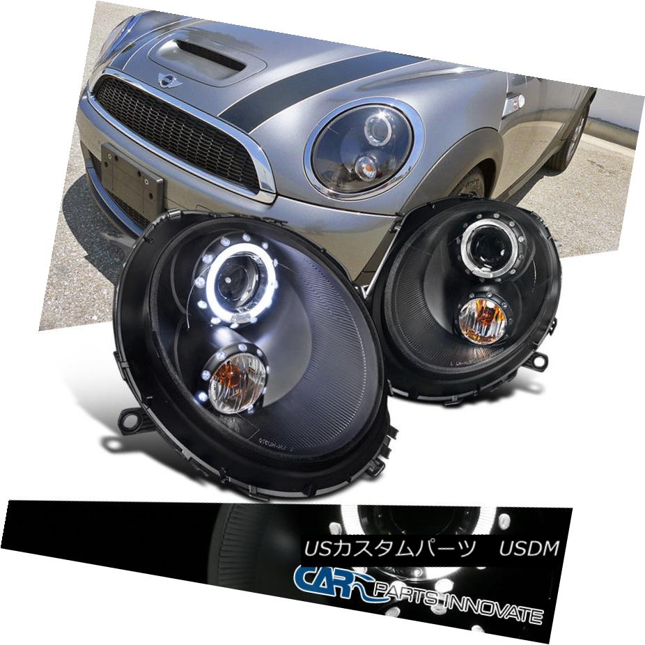ヘッドライト 2007-2012 Mini Cooper LED Halo Rim Projector Headlight Black Pair 2007-2012 Mini Cooper LED Halo Rimプロジェクターヘッドライトブラックペア