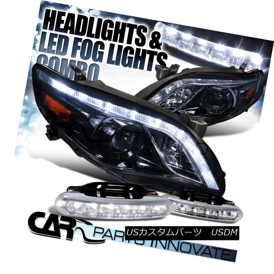 ヘッドライト Glossy Black For 11-13 Corolla Smoke LED Projector Headlights+LED Fog Bumper DRL 光沢ブラック11-13カローラ煙LEDプロジェクターヘッドライト+ LEDフォグバンパーDRL