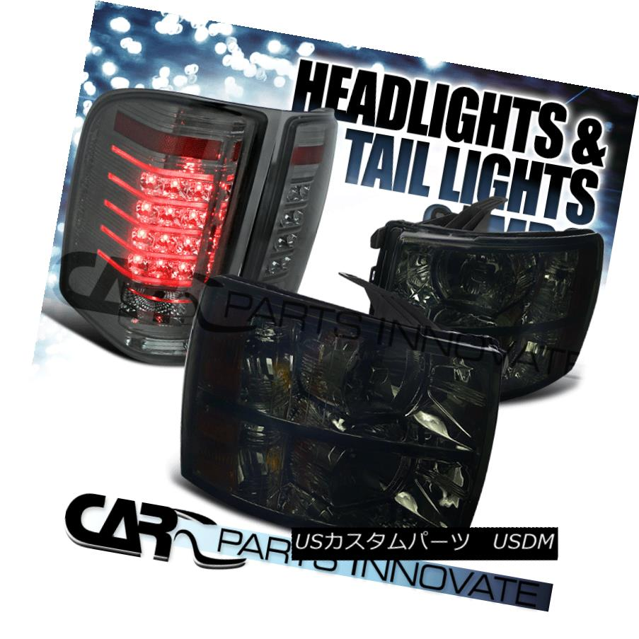 ヘッドライト 07-14 Chevy Silverado 1500 2500 3500 Smoke Lens Headlights+LED Tail Brake Lamps 07-14 Chevy Silverado 1500 2500 3500スモークレンズヘッドライト+ LEDテールブレーキランプ