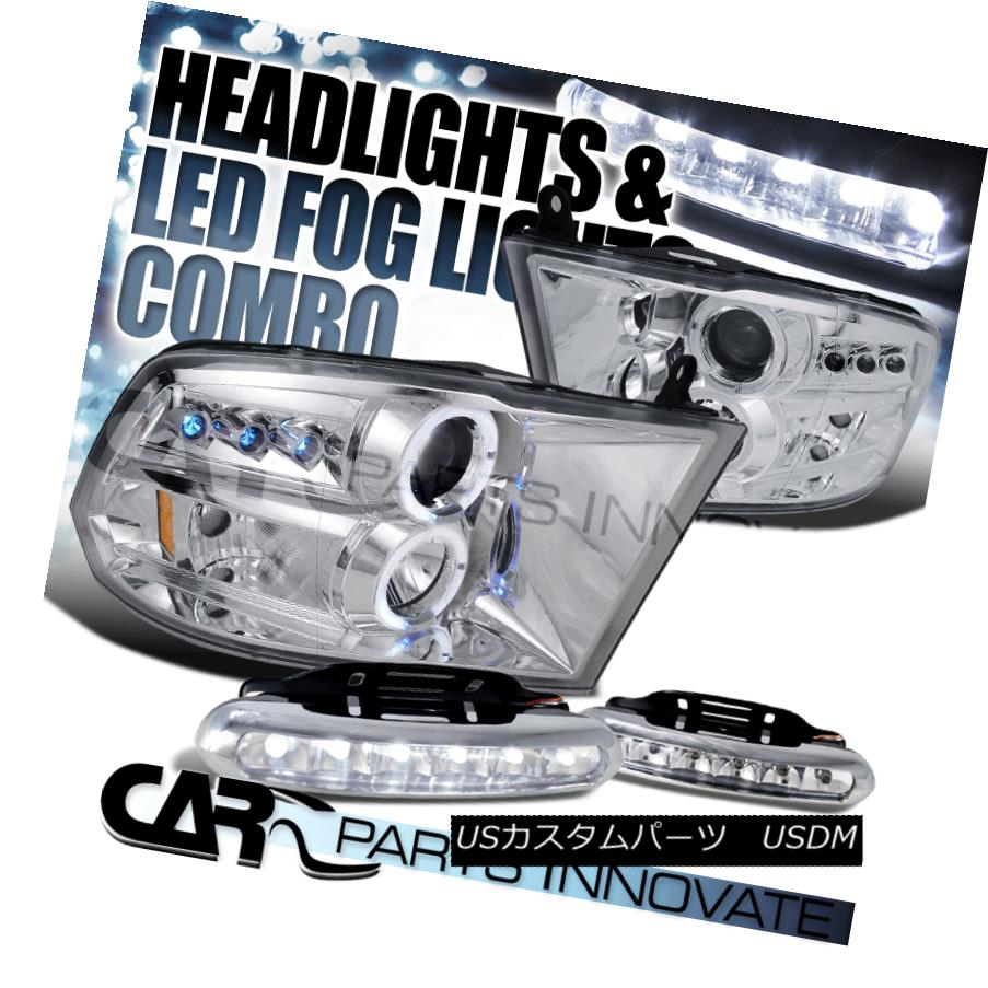 ヘッドライト Dodge 09-17 Ram 1500 2500 3500 Chrome Halo Projector Headlights+6-LED Fog Lamps ドッジ09-17ラム1500 2500 3500クロームハロープロジェクターヘッドライト+ 6-L  EDフォグランプ