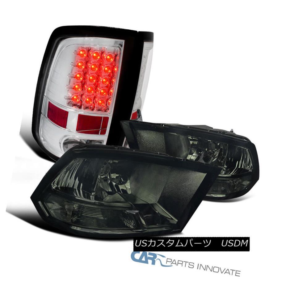 ヘッドライト Dodge 09-17 Ram 1500 2500 3500 Pickup Smoke Lens Headlights+Clear LED Tail Lamps ドッジ09-17 Ram 1500 2500 3500ピックアップスモークレンズヘッドライト+ Cle  ar LEDテールランプ