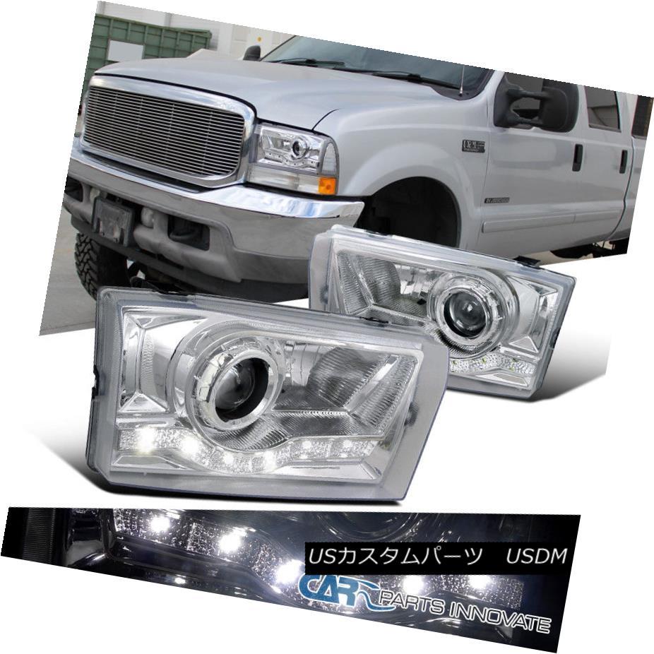ヘッドライト 99-04 F250 F350 F450 F550 00-04 Excursion Chrome SMD LED DRL Projector Headlight 99-04 F250 F350 F450 F550 00-04エクスカーションクロムSMD LED DRLプロジェクターヘッドライト