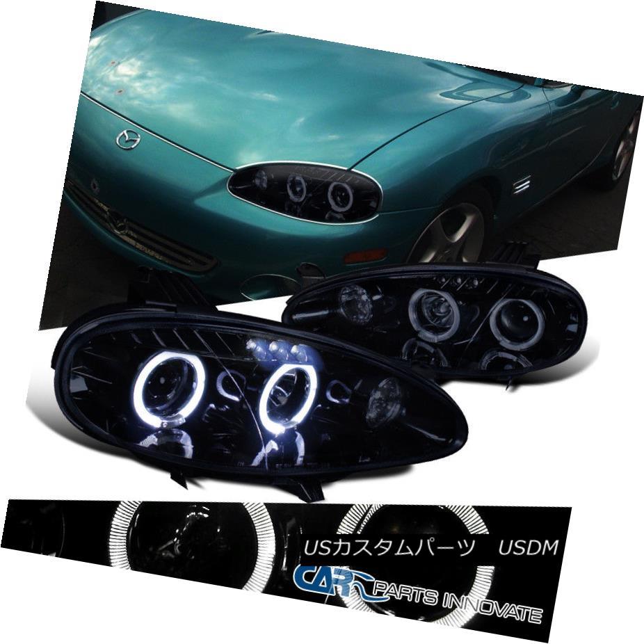 ヘッドライト New!! Glossy Black 01-05 Mazda Miata MX5 Smoke LED Projector Headlights Pair 新しい!! Glossy Black 01-05マツダMiata MX5スモークLEDプロジェクターヘッドライトペア