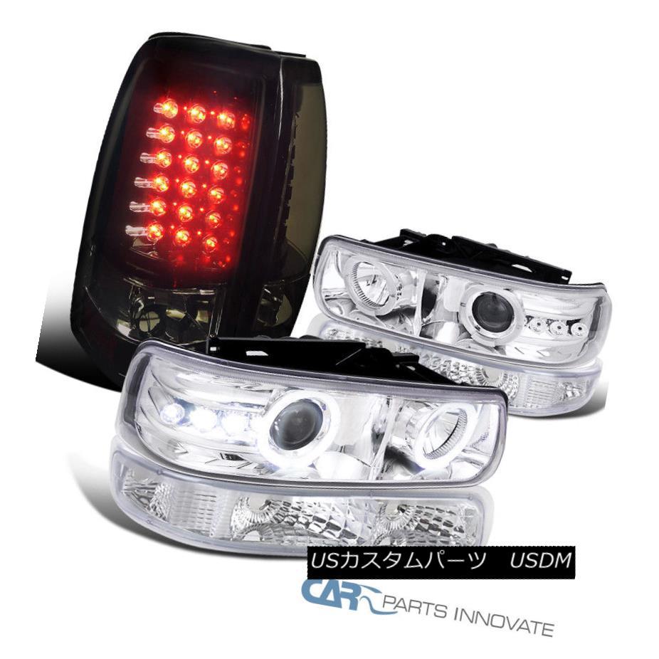 ヘッドライト 99-02 Silverado LED Halo Projector Headlights+Bumper+Glossy Black LED Tail Lamps 99-02 Silverado LED Haloプロジェクターヘッドライト+ Bum  +光沢のある黒色LEDテールランプ