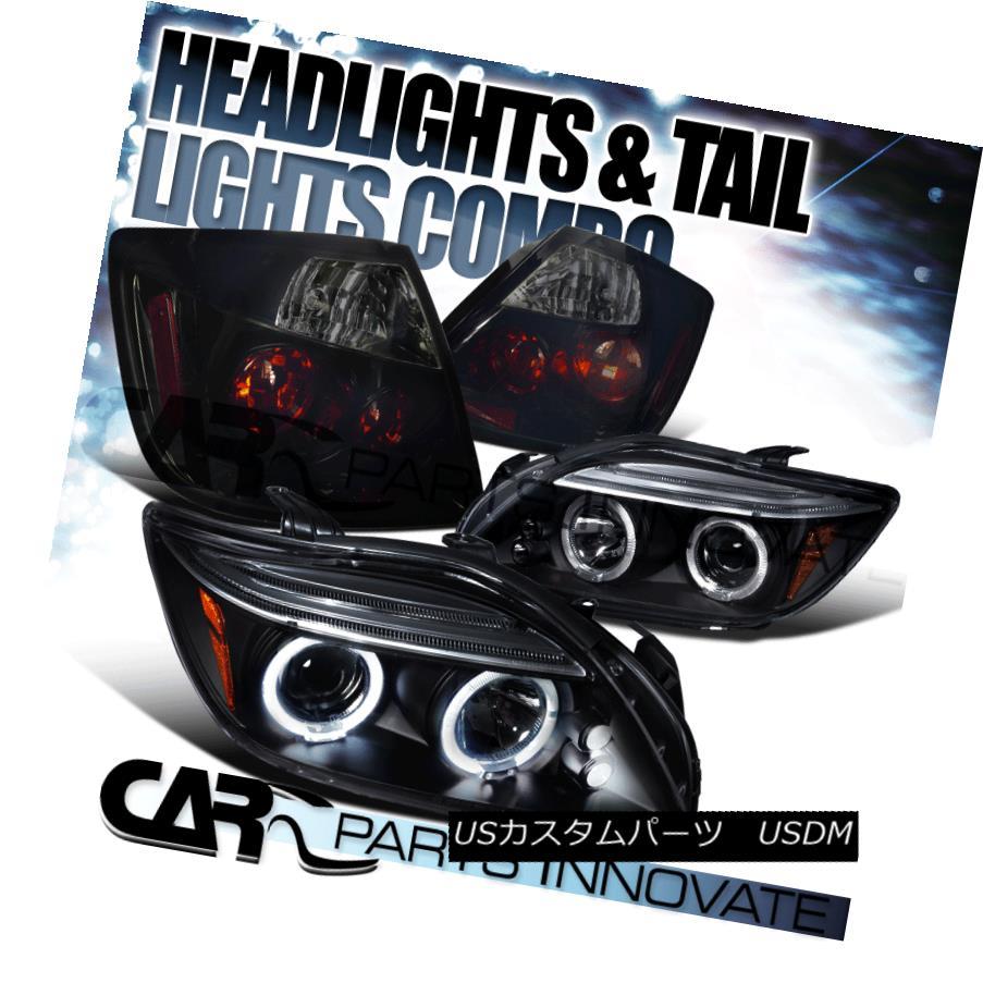 ヘッドライト 05-10 Scion tC Black Halo LED Projector Headlights+Glossy Black Smoke Tail Lamps 05-10サイオンtCブラックハローLEDプロジェクターヘッドライト+グロー ssyブラックスモークテールランプ