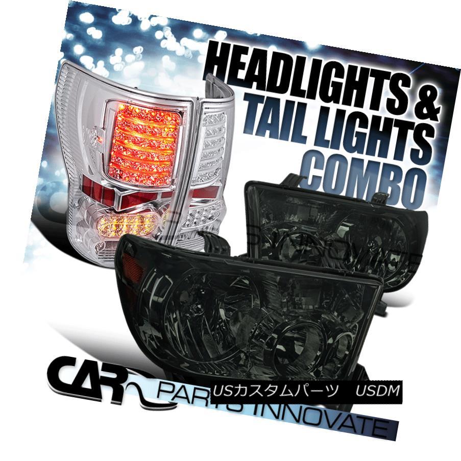 ヘッドライト For 07-13 Toyota Tundra Smoke Lens Tinted Headlights+Clear Tail Rear Brake Lamps 07-13トヨタトンドラスモークレンズ用ヘッドライト+ Cle  arテールリアブレーキランプ