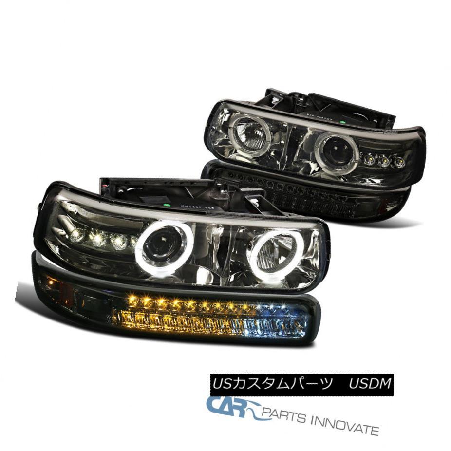 ヘッドライト 99-02 Silverado 00-06 Tahoe Smoke LED Projector Headlights+LED Bumper Lamps 99-02 Silverado 00-06タホ煙LEDプロジェクターヘッドライト+ LEDバンパーランプ