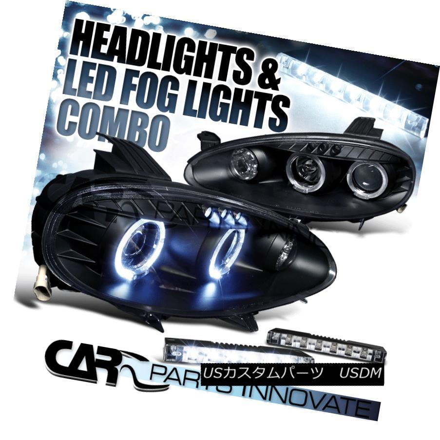 ヘッドライト 01-05 Mazda Miata MX5 Twin Halo Black Projector Headlights+6-LED Fog Lamps 01-05マツダMiata MX5ツインハローブラックプロジェクターヘッドライト+ 6-L  EDフォグランプ