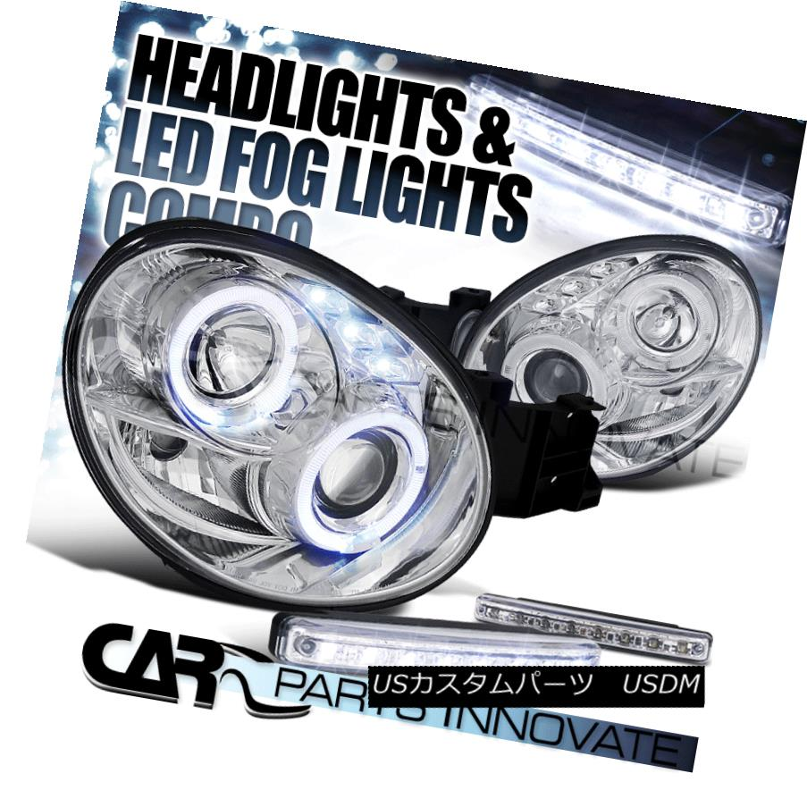 ヘッドライト For Subaru 02-03 Impreza WRX Chrome Halo Projector Headlights+8-LED Fog Lamps Subaru 02-03インプレッサWRXクロームハロープロジェクターヘッドライト+ 8-L  EDフォグランプ用