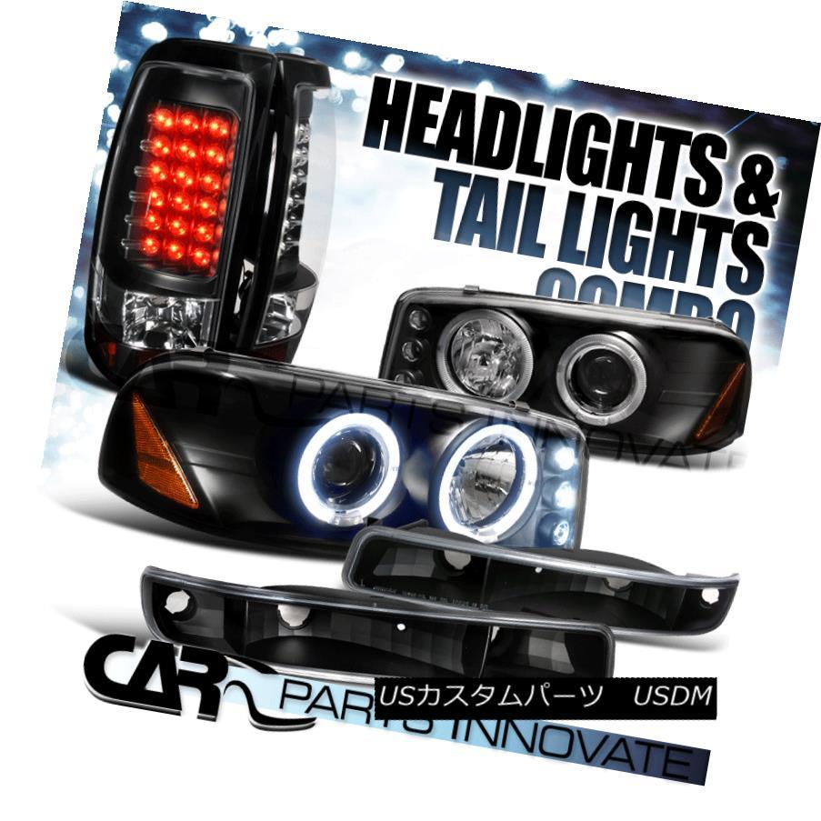 ヘッドライト 99-03 Sierra Fleetside Black Projector Headlights+Bumper Lamps+LED Tail Lights 99-03 Sierra Fleetside黒プロジェクター・ヘッドライト+ Bum 、ランプごと+ LEDテールライト