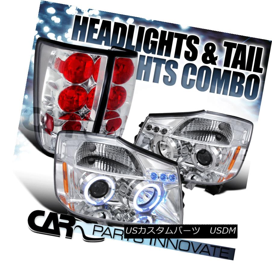 ヘッドライト For 2004-2013 Nissan Titan Chrome Halo LED Projector Headlights+Clear Tail Lamp 2004-2013 Nissan Titan Chrome Halo LEDプロジェクターヘッドライト+ Cle  arテールランプ