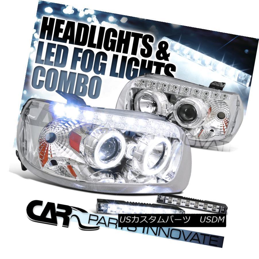 ヘッドライト 05-07 Ford Escape Chrome SMD Dual Halo Projector Headlights+6-LED Fog Lamps Pair 05-07フォード・エスケープ・クロムSMDデュアル・ハロー・プロジェクター・ヘッドライト+ 6-L  EDフォグ・ランプ・ペア