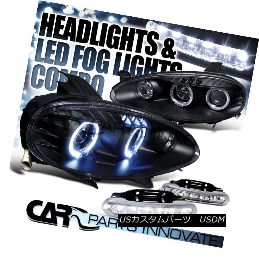 ヘッドライト Mazda 01-05 Miata MX5 Black Dual Halo Projector Headlights+6-LED Fog Lamps マツダ01-05 Miata MX5ブラックデュアルハロープロジェクターヘッドライト+ 6-L  EDフォグランプ