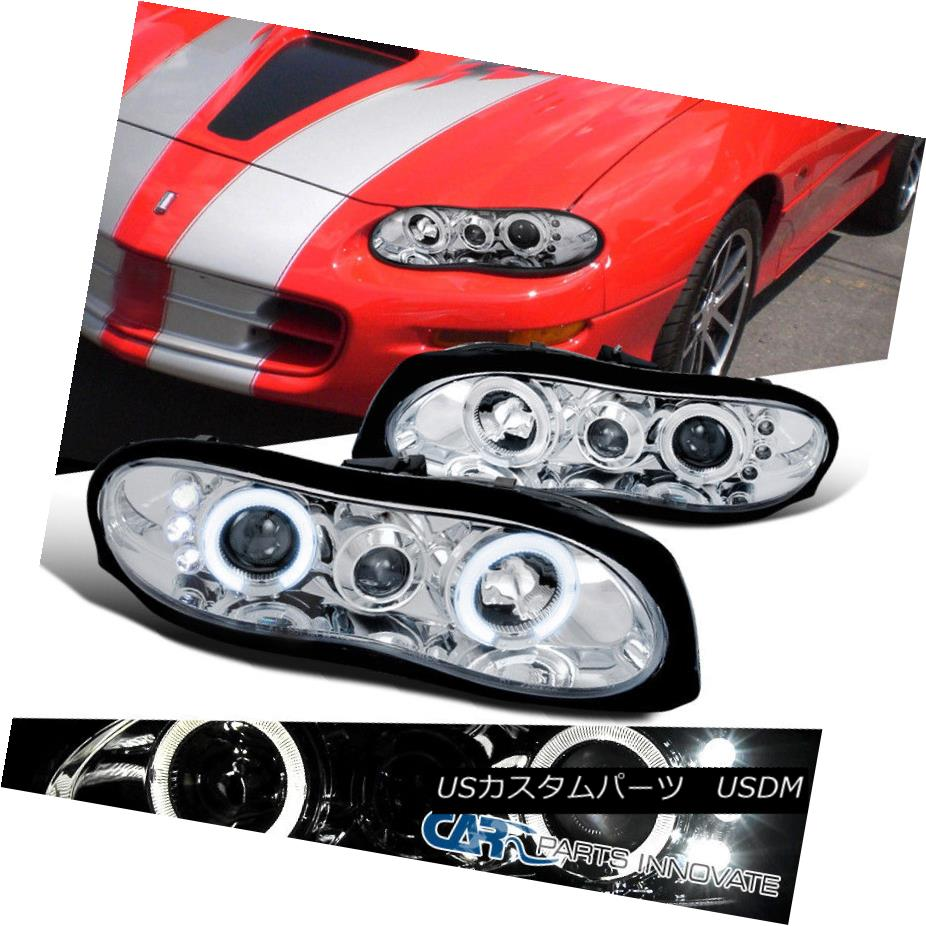 ヘッドライト Chevy 98-02 Camaro LED Halo Clear Projector Headlights Driving Head Lamps Pair シボレー98-02カマロLEDハロークリアプロジェクターヘッドライトドライビングヘッドランプペア