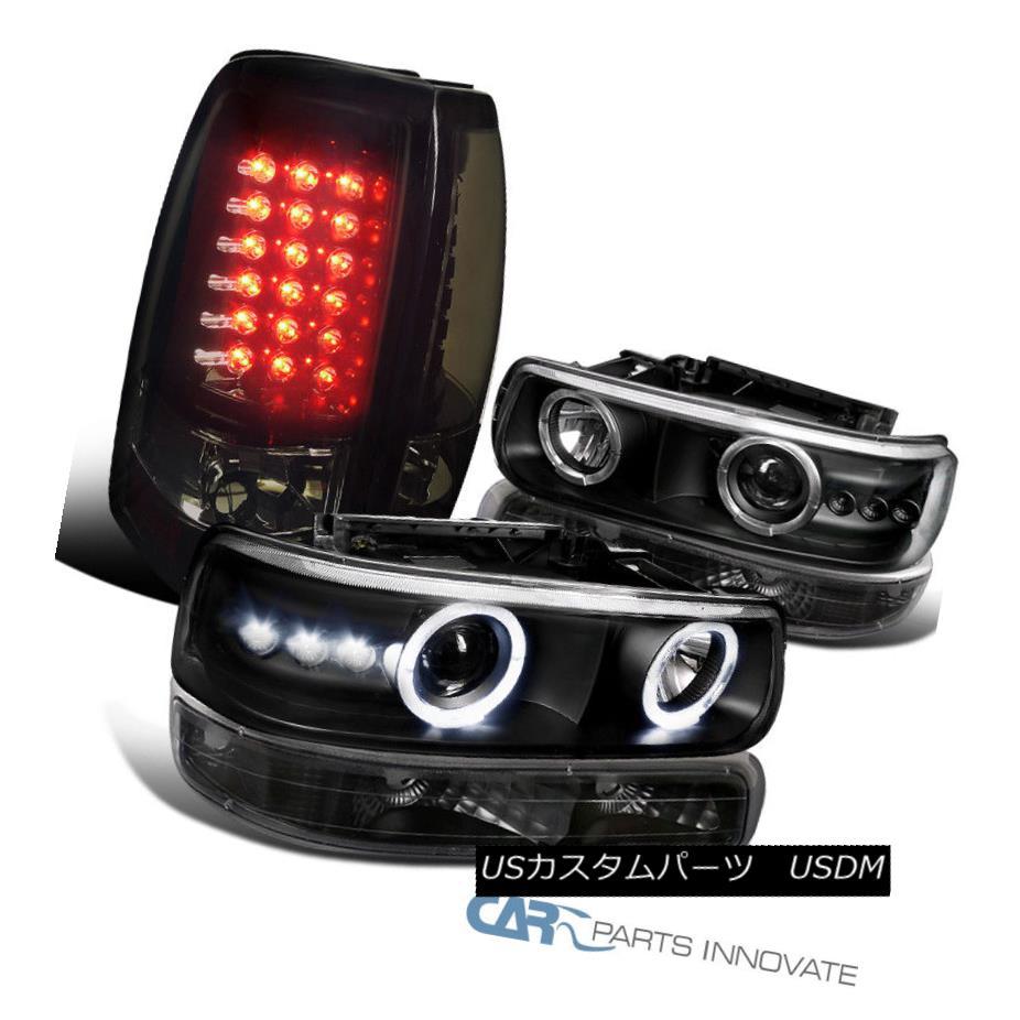 ヘッドライト 99-02 Silverado Fleetside Black Projector Headlight+Bumper+Smoke LED Tail Lights 99-02 Silverado Fleetside黒プロジェクターヘッドライト+バンプ er +スモークLEDテールライト