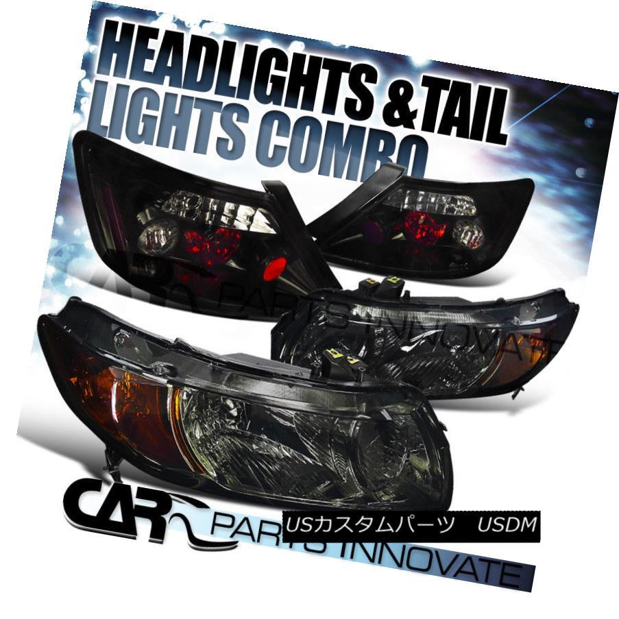ヘッドライト Fit 06-11 Civic 2Dr Coupe Crystal Smoke Headlights+Glossy Black Rear Tail Lamps フィット06-11シビック2Drクーペクリスタルスモークヘッドライト+グロー ssyブラックリアテールランプ