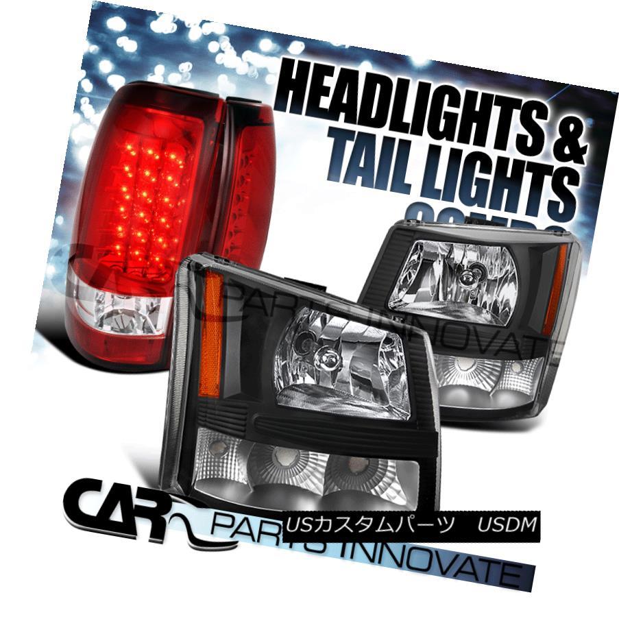 ヘッドライト 2003-2006 Chevy Silverado 2in1 Black Clear Head Bumper Lights+Red LED Tail Lamp 2003-2006シボレーシルバラード2in1ブラッククリアヘッドバンパーライト+レッドLEDテールランプ