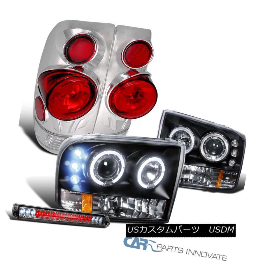 ヘッドライト 99 F250 SuperDuty Black LED Halo Projector Headlights+Tail Lights+3rd Brake Lamp 99 F250 SuperDutyブラックLEDハロープロジェクターヘッドライト+タイ lライト+第3ブレーキランプ