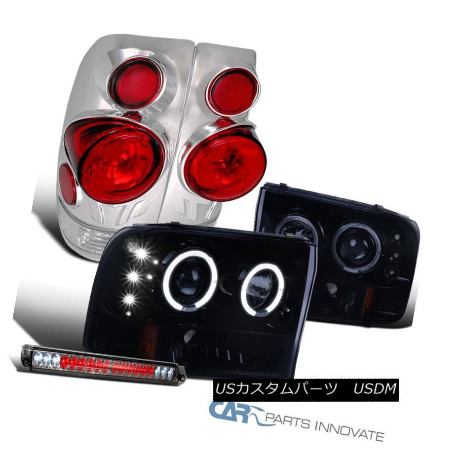 ヘッドライト SuperDuty 99 F250 Smoke LED Halo Projector Headlights+Tail Lights+LED 3rd Brake SuperDuty 99 F250スモークLEDハロープロジェクターヘッドライト+タイ lライト+ LED第3ブレーキ