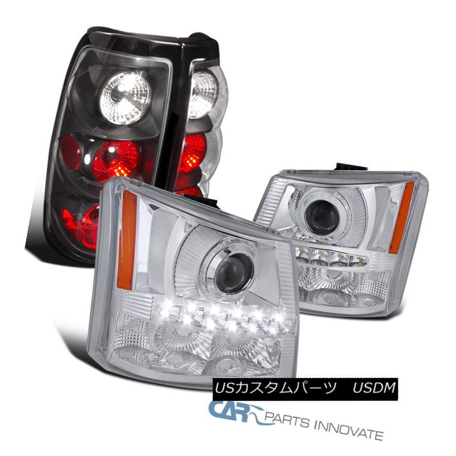 ヘッドライト 03-07 Silverado 2in1 Clear LED Projector Head Bumper Lights+Black Tail Lights 03-07 Silverado 2in1クリアLEDプロジェクターヘッドバンパーライト+ブラックテールライト