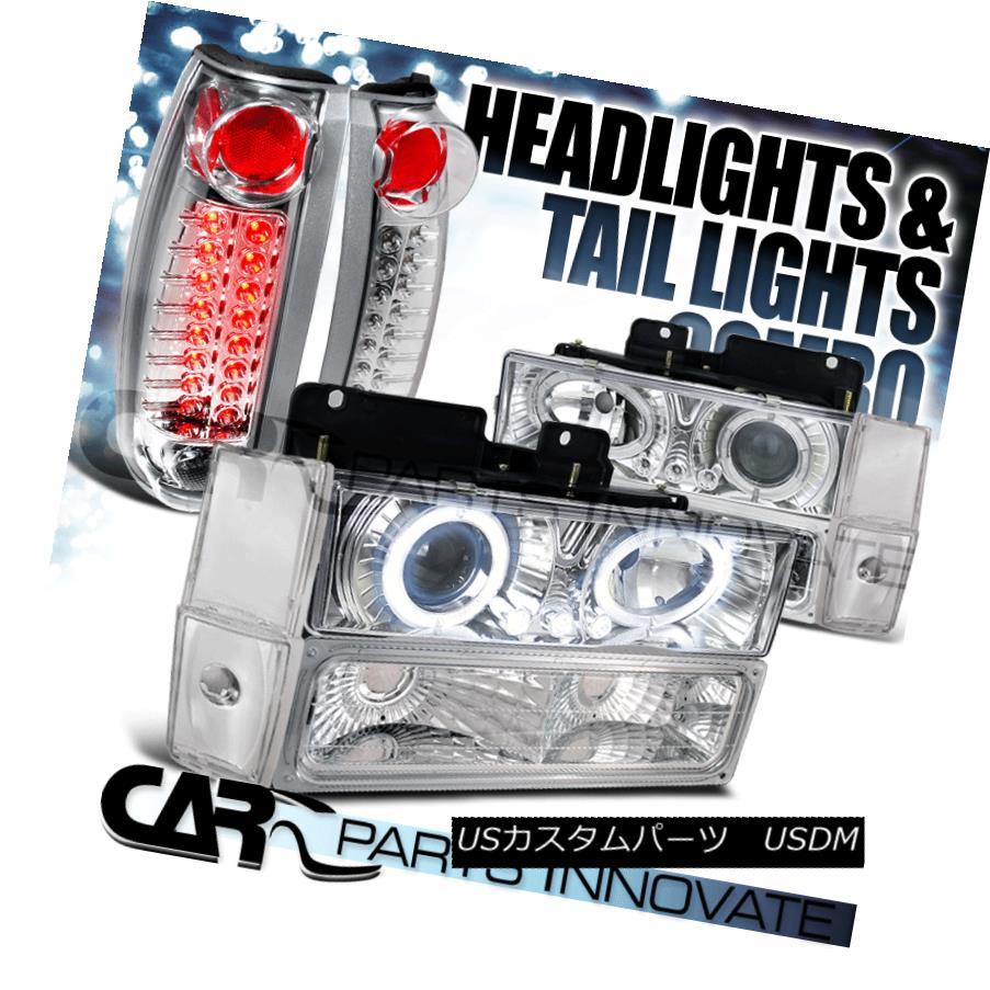 ヘッドライト 88-93 C10 C/K Chrome Halo Projector Headlights+Bumper Corner Lamp+LED Tail Light 88-93 C10 C / Kクロームハロープロジェクターヘッドライト+ Bum  /コーナーランプ+ LEDテールライト