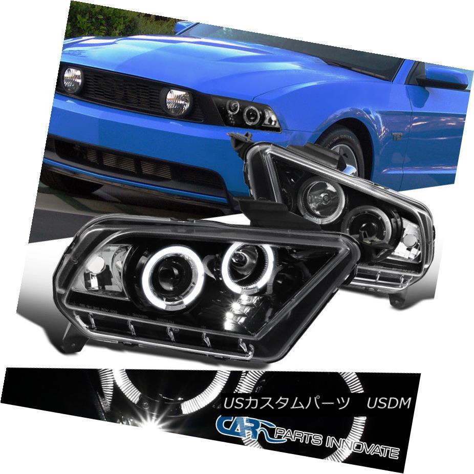 ヘッドライト Ford 10-14 Mustang Pearl Black LED Dual Halo Projector Headlights Head Lamps フォード10-14ムスタングパールブラックLEDデュアルハロープロジェクターヘッドライトヘッドランプ