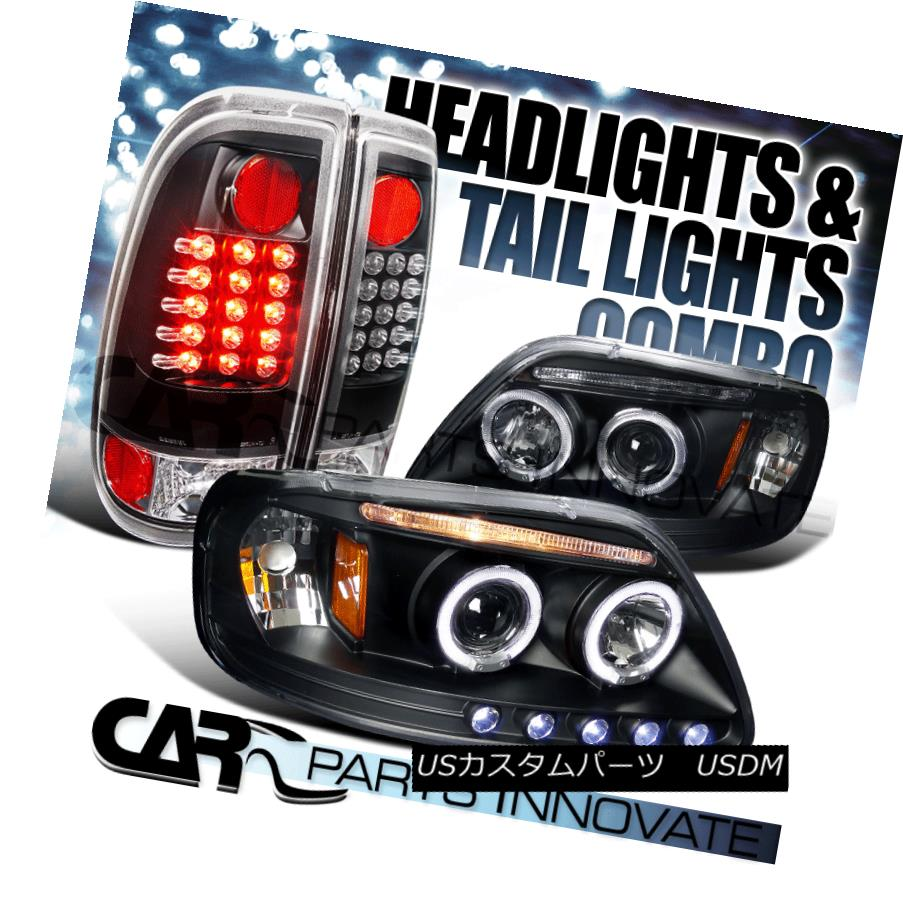 ヘッドライト 97-03 F150 Styleside Black Halo LED Projector Headlights+LED Tail Lamps 97-03 F150 Styleside Black Halo LEDプロジェクターヘッドライト+ LEDテールランプ