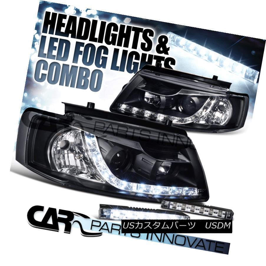 ヘッドライト Black 97-00 For VW Passat B5 LED DRL Black Projector Headlights+6-LED Fog Lamps ブラック97-00 for VW Passat B5 LED DRLブラックプロジェクターヘッドライト+ 6-L  EDフォグランプ