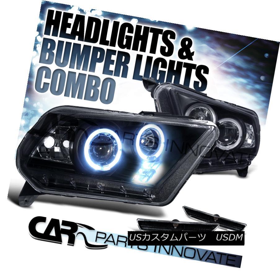 ヘッドライト 10-14 Ford Mustang Black Clear Halo Projector Headlights+Bumper Signal Lights 10-14 Ford Mustangブラッククリア・ハロー・プロジェクター・ヘッドライト+ Bum