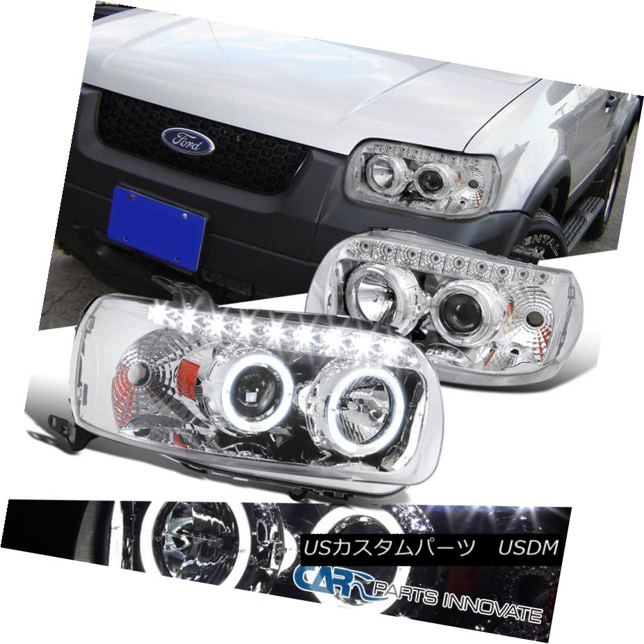 ヘッドライト 05-07 Ford Escape Replacement Clear Dual Halo SMD LED DRL Projector Headlights 05-07 Ford Escape交換クリアデュアルHalo SMD LED DRLプロジェクターヘッドライト