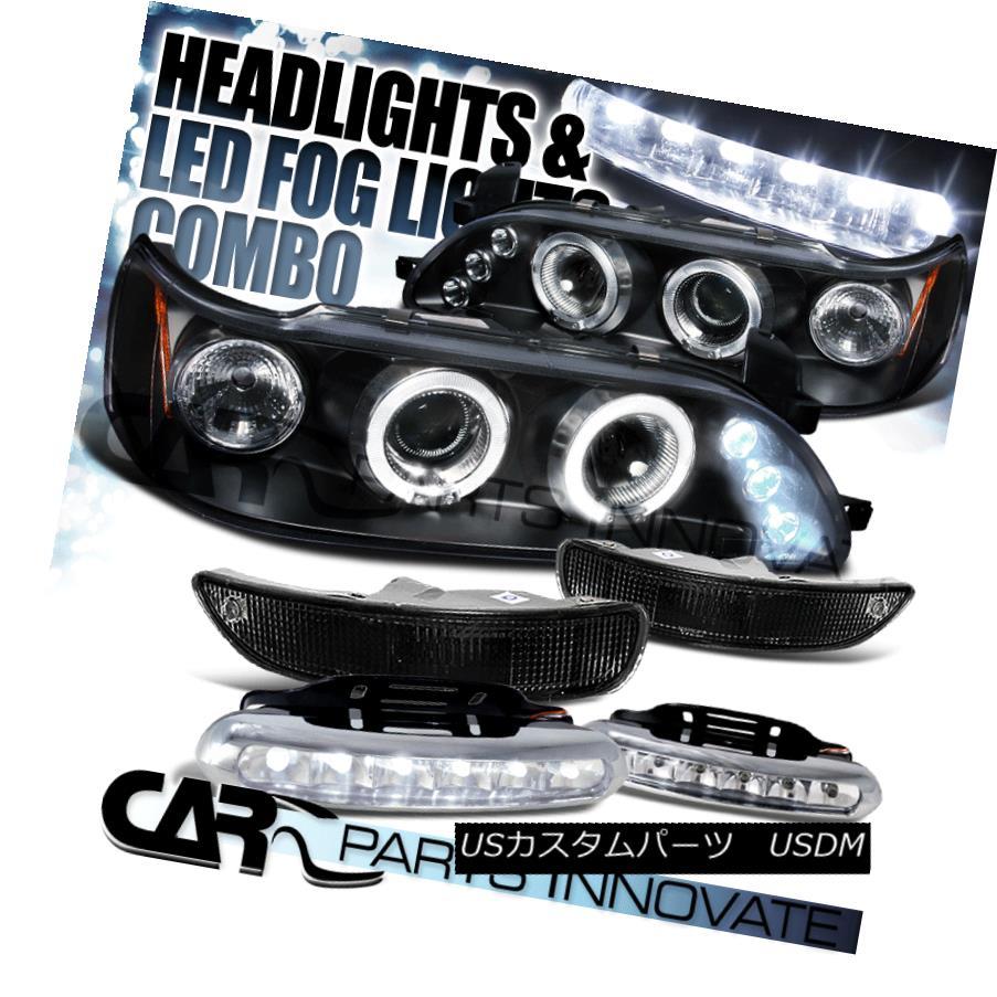 ヘッドライト For 93-97 Corolla Black Halo Projector Headlights+Bumper Lights+6-LED Fog Lamps 93-97 Corolla Black Haloプロジェクター用ヘッドライト+ Bum 、ライト+ 6-LEDフォグランプ