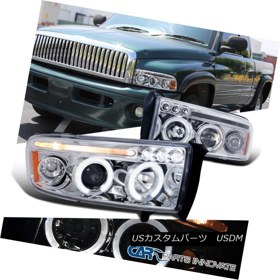 ヘッドライト Dodge 94-01 Ram 1500 2500 3500 LED Halo Projector Headlights Head Lamps Clear ドッジ94-01ラム1500 2500 3500 LEDハロープロジェクターヘッドライトヘッドランプクリア