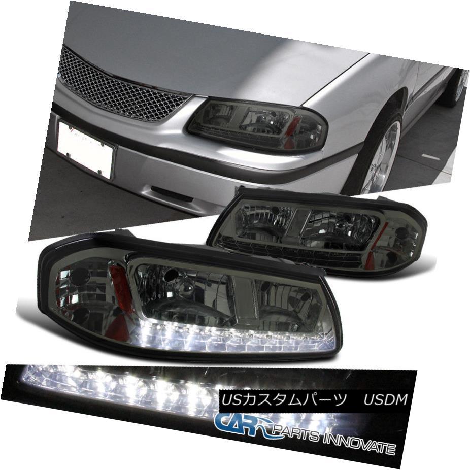 ヘッドライト 00-05 Chevy Impala LS Base Smoke Lens LED DRL Headlights Tinted Head Lamps Pair 00-05シボレーインパラLSベースの煙レンズLED DRLヘッドライト着色ヘッドランプペア