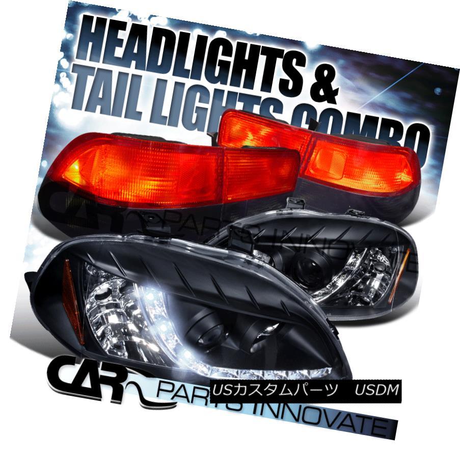 ヘッドライト Fit 96-98 Civic 2Dr Black LED DRL Projector Headlights+Red Smoke Lens Tail Lamps フィット96-98シビック2DrブラックLED DRLプロジェクターヘッドライト+レッドスモークレンズテールランプ