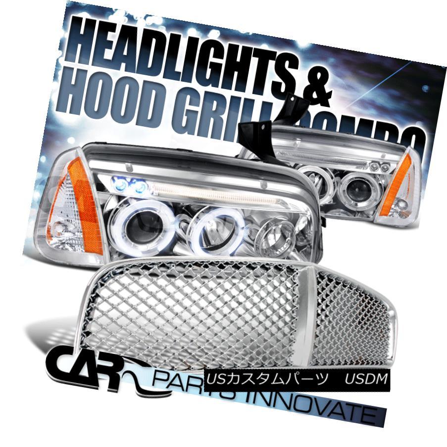 ヘッドライト 2006-2010 Dodge Charger Chrome Halo LED Projector Headlights+Corner Lamp+Grille 2006-2010 Dodge ChargerクロームハローLEDプロジェクターヘッドライト+ Cor  ner Lamp + Grille