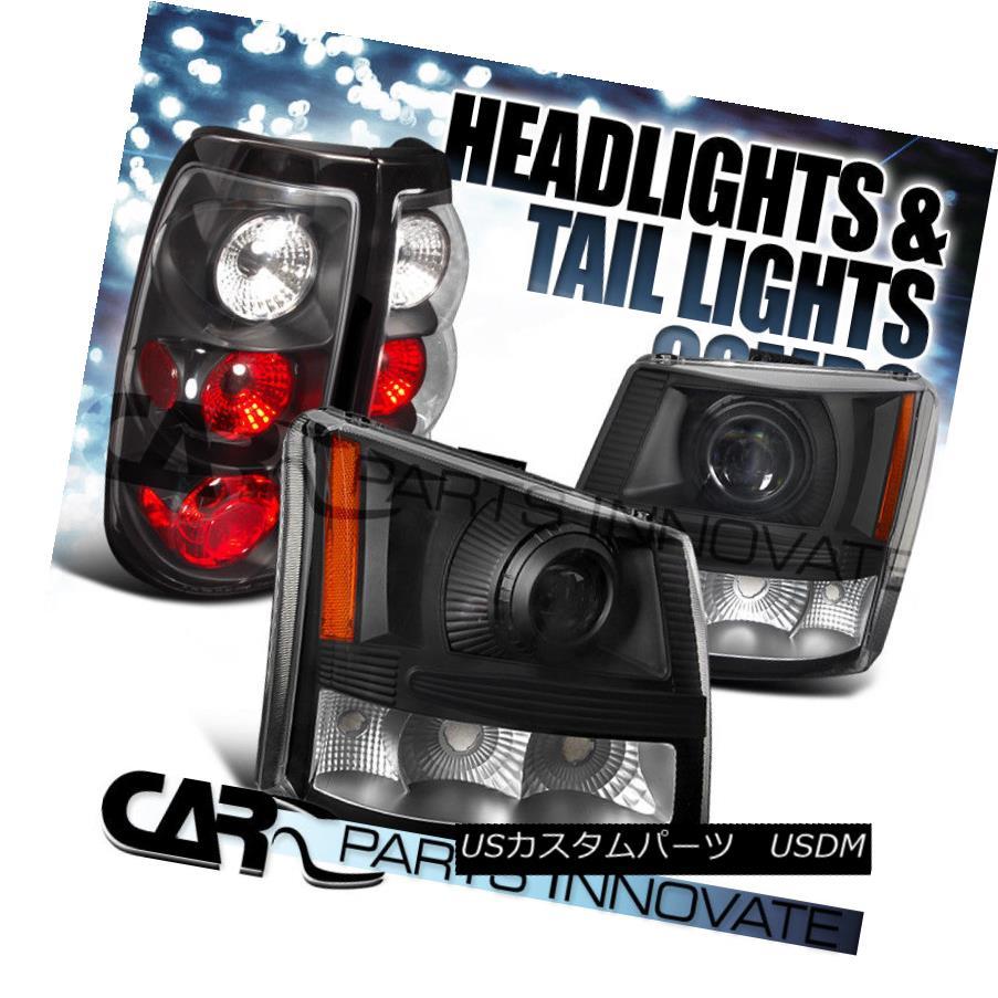 ヘッドライト 03-06 Chevy Silverado 2in1 Black Clear Projector Headlights+Tail Lamps 03-06 Chevy Silverado 2in1ブラッククリアプロジェクターヘッドライト+タイ lランプ