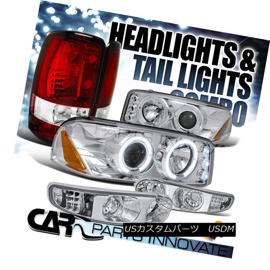 ヘッドライト 01-06 Yukon Denali Chrome Halo LED Projector Head Bumper Lights+Red Tail Lamp 01-06ユーコンデナリクロームハローLEDプロジェクターヘッドバンパーライト+レッドテールランプ