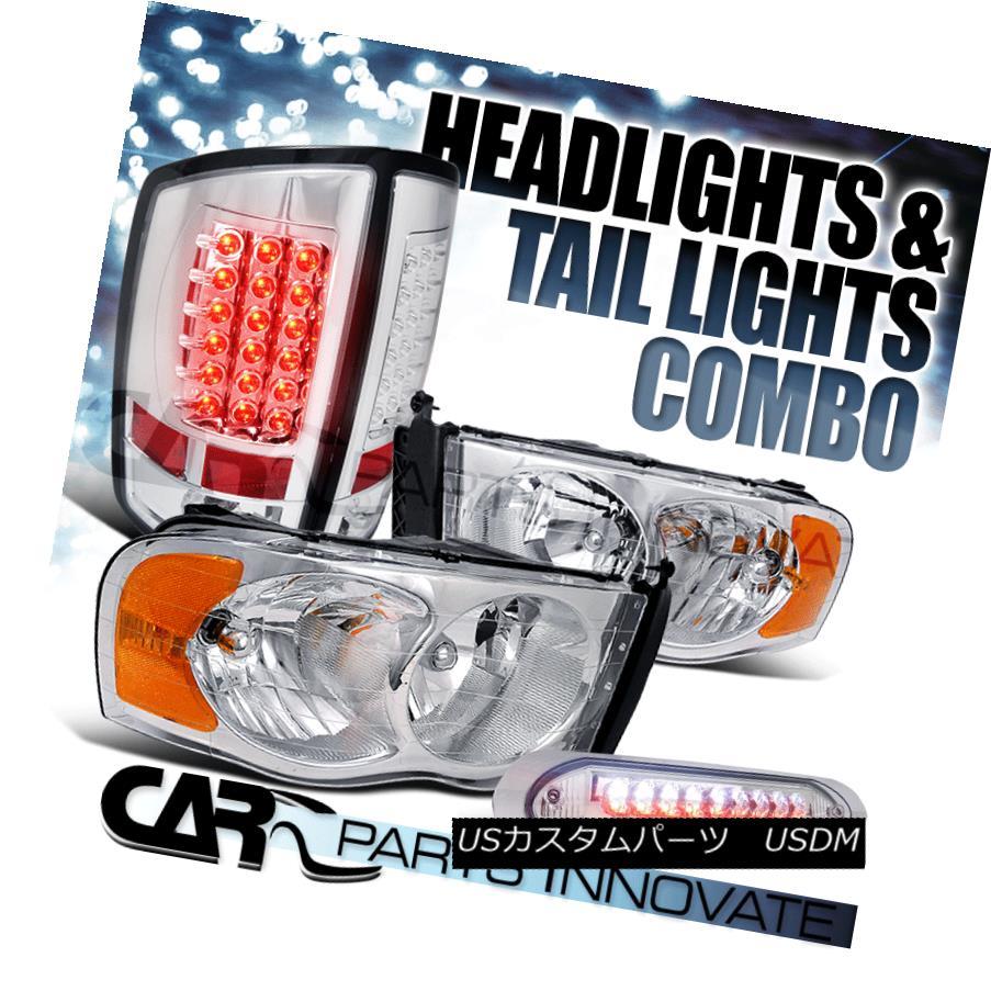 ヘッドライト 02-05 Dodge Ram Clear Crystal Headlights+Chrome LED Tail Lamps+3rd Brake Light 02-05 Dodge Ramクリアクリスタルヘッドライト+ Chr  ome LEDテールランプ+ 3rdブレーキライト
